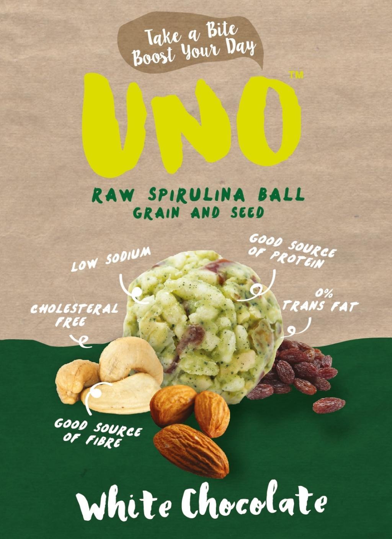 ธัญพืชอบกรอบผสมสาหร่ายเกลียวทอง ตรา UNO รส White Chocolate ขนาดบรรจุ4ชิ้น